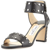 Jimmy Choo Veto Studded Leather 65mm Sandal, Black/Silver