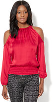 New York & Co. 7th Avenue Design Studio - Cold-Shoulder Smocked Blouse