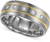 Triton Men's Diamond Stripe Wedding Band in Tungsten Carbide (1/6 ct. t.w.)