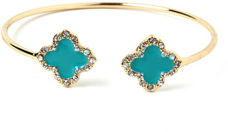 Amrita Singh Women's Bracelets Turquoise - Teal & Goldtone Clover Cuff