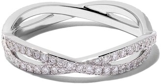 De Beers 18kt white gold Infinity full-pave diamond band