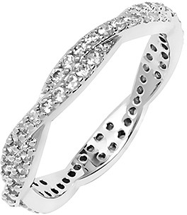 Swarovski Barzel Women's Rings Silver - Silvertone Twist Band With Crystals