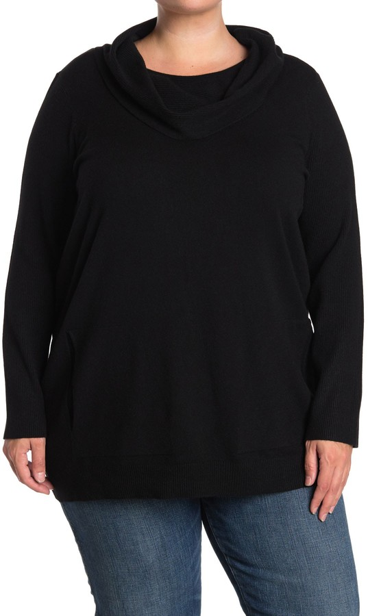 Cyrus Cowl Neck Pocket Pullover Sweater (Plus Size)