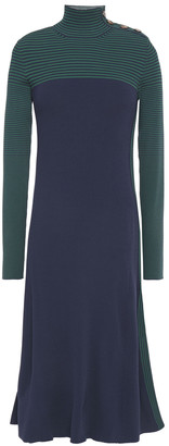 Cédric Charlier Paneled Ribbed-knit Dress