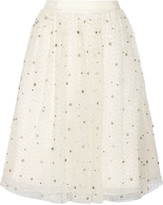 Alice + Olivia Catrina embellished tulle and organza skirt