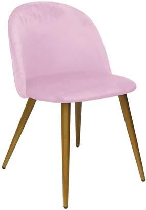 Urban Shop Pink Velvet Round Back Chair