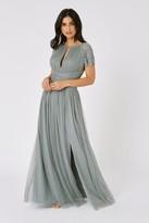 Little Mistress Bridesmaid Luanna Pistachio Embellished Lace Sleeve Maxi Dress