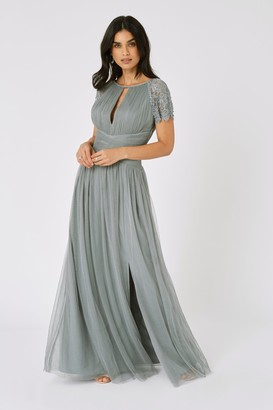 Little Mistress Bridesmaid Luanna Pistachio Embellished Lace Sleeve Maxi Dress