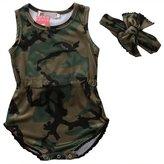 BC-Bionergy Baby Girl Clothes Camouflage Romper Bodysuit Sunsuit Outfit Clothes 2 PCS