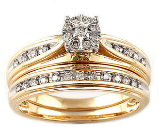 Modern Bride Womens 1/4 CT. T.W. Genuine White Diamond 10K Two Tone Gold Engagement Ring Family