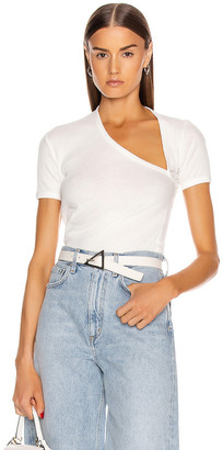 John Elliott Rib Asymmetrical Tee in White | FWRD