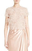 Marchesa Women's Ostrich Feather Embroidered Top