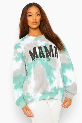 boohoo Maternity Tie Dye Mama Sweat Top