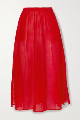 Skin Beatriz Pintucked Cotton-voile Midi Skirt - Red
