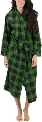 Green & Black Leveret Women's Sleep Robes Plaid Flannel Robe - Women