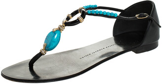 Giuseppe Zanotti Black Leather Turquoise Beaded Ankle Strap Thong Sandals Size 38.5