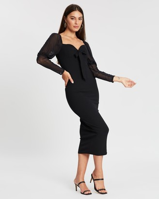 Missguided Mesh Puff Sleeve Bow Midi Dress