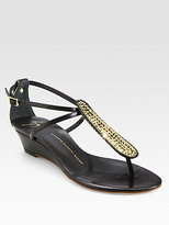 Giuseppe Zanotti Dore Crystal-Coated Leather Wedge Sandals