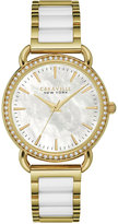 Bulova Caravelle New York by Women's White Ceramic and Gold-Tone Stainless Steel Bracelet Watch 34mm 44L172