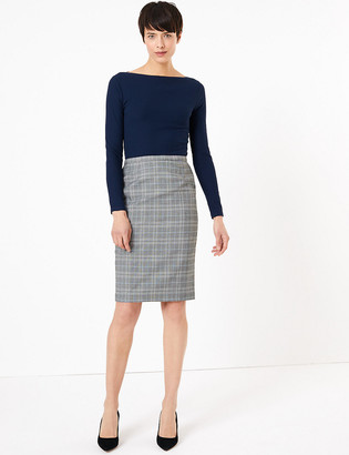 Marks and Spencer Checked Knee Length Pencil Skirt