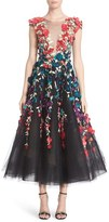 Marchesa Plunging V-Neck 3D Embellished Tulle Midi Dress