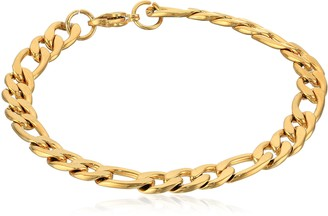 Crucible Jewelry Mens Stainless Steel Gold IP Figaro Chain Bracelet 8.25-Inch