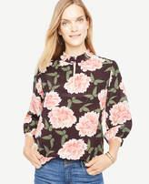Ann Taylor Butterfly Floral Silk Pleat Neck Blouse