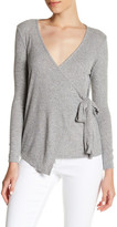 Bobeau Ribbed Wrap Long Sleeve Shirt (Petite)