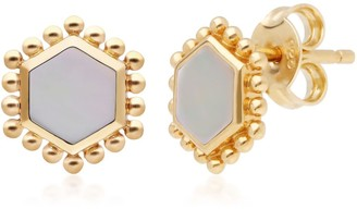 Mother Of Pearl Flat Slice Hex Stud Earrings - Gold Sterling Silver