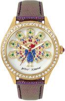 Betsey Johnson Women's Purple Leather Strap Watch 42mm BJ00517-47