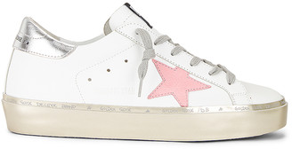 Golden Goose Hi Star Sneaker in White, Pink Pastel, Silver & Gold | FWRD