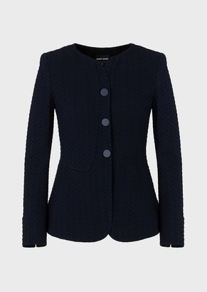 Emporio Armani Knitted Jacket With Raised Chevron Motif