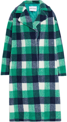Stand Studio Maria Checked Oversized Faux Shearling Coat