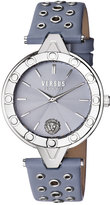 Versus By Versace 34mm V Versus Eyelet Watch w/ Leather Strap, Blue
