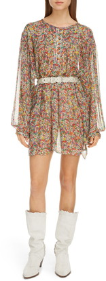 Isabel Marant Floral Print Long Sleeve Silk Dress
