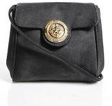 Rodo Black Leather Gold Tone Small Flap Shoulder Handbag