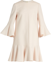 Valentino Fluted sleeve and hem wool and silk-blend dress