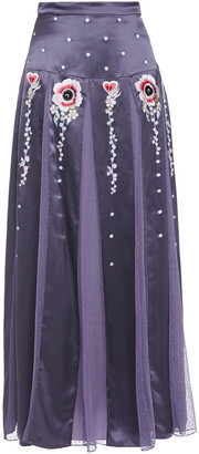 Temperley London Firebird Point D'esprit-paneled Embroidered Satin Maxi Skirt