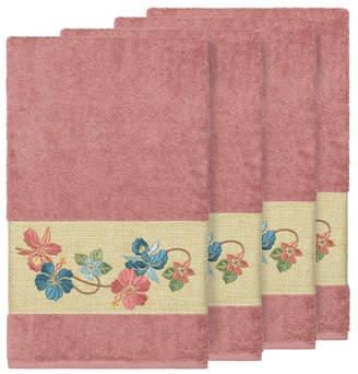 Linum Home Caroline 4-Pc. Embroidered Turkish Cotton Bath Towel Set Bedding