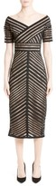 Lela Rose Women's Windowpane Lace Midi Dress