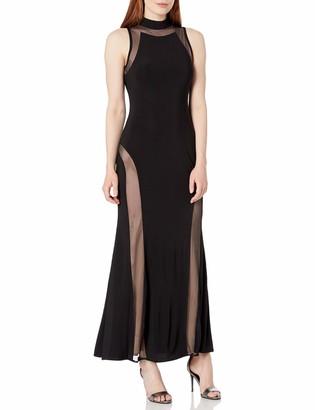 Night Way Nightway Women's High Neck Sleeveless Jersey Mesh Insert Bodice Petite Black/Nude Size 14