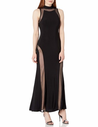 Night Way Nightway Women's High Neck Sleeveless Jersey Mesh Insert Bodice