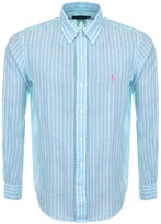 Ralph Lauren Striped Linen Shirt Blue