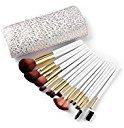 Mooxury Synthetic Kabuki Makeup Brushes Set Professional 15 Pcs with Premium Pouch - White