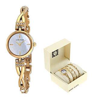 Anne Klein Women's AK/3082GPST Swarovski Crystal Accented -Tone Watch and Bracelet Set