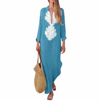 Lanskirt Women Dress Women Dress LANSKIRT Sale Ladies Printed Hem Baggy Kaftan Long Dresses Summer Retro V-Neck Beach Dress Casual Thigh Slit Sundress Cotton Midi Sleeve Party Maxi Dress