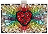 Boxy Rainbow Heart Suede Clutch