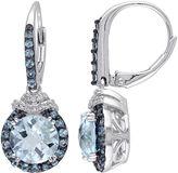 FINE JEWELRY Genuine Blue Topaz and 1/10 CT. T.W. Diamond Drop Earrings