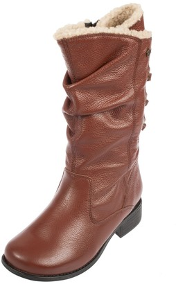 Padders Piper Leather Calf Boot Extra Wide 3E Fit with Faux Fur Lining - Tan - UK6