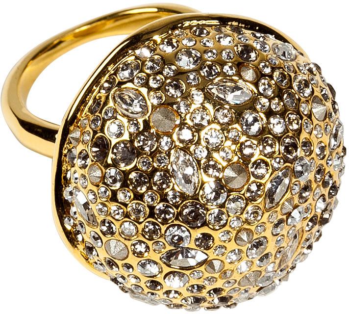 Alexis Bittar Crystal Encrusted Gold Sphere Ring